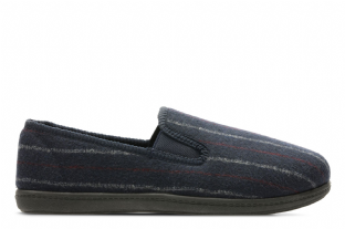 Clarks Mens King Twin Dark Blue Slippers